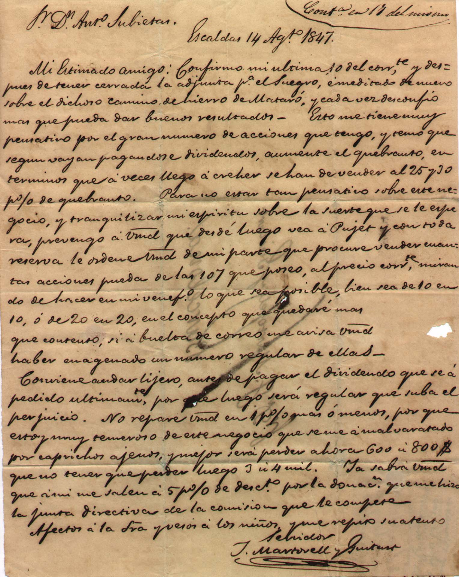 Carta d'un accionista intentant vendre les seves accions, agost 1847