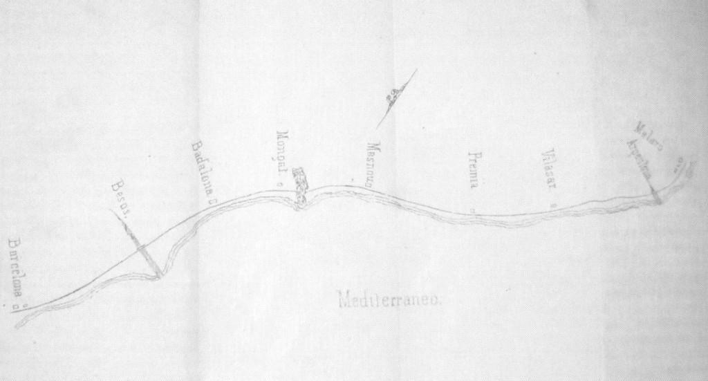 "Mapa de la línia publicat per Josep Gil i Montaña a ""El camino de hierro Barcelona a Mataró en la mano"", 1850"