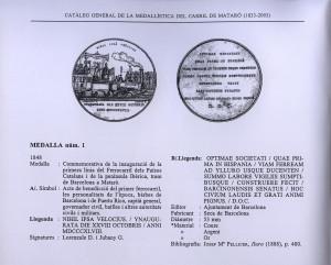 Medalla conmemorativa, 1848. Descripció de Josep Rovira, Catàleg de medallística del ferrocarril de Mataró, 1998