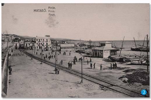 Traçat de les vies entre l'estació de Mataró i el pas pel carrer de Sant Felicià
