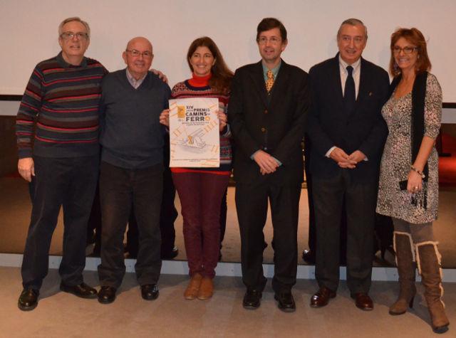 Els premiats amb Pilar Garcia, directora del Museu del Ferrocarril de Catalunya
