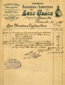 Factura del taller de serralleria 'Luis Ubach', especialitzat en fanals d'oli i petroli pel ferrocarril, 1901.