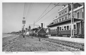 Inauguració de l'electrificació de la línia del ferrocarril Barcelona-Mataró durant les celebracions del Centenari, Tren del Centenari al Masnou 1948.