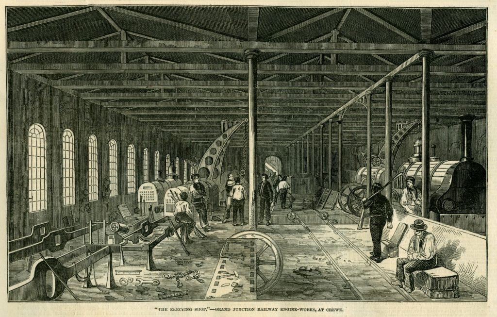 Construcció de locomotores de la Grand Junction Railway a Crewe (Anglaterra), The Illustrated London News 1849