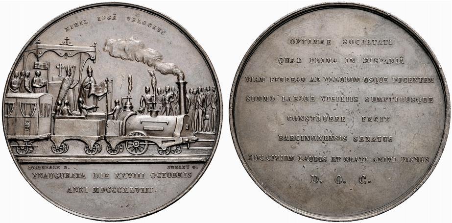 Medalla de l'Ajuntament de Barcelona en la inauguració del ferrocarril